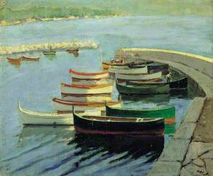 Rowing Boats Moored beside a Quay