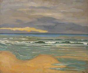 Coast Scene with Surf Advancing onto a Sandy Shore