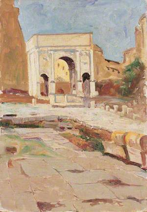 The Forum in Rome, with the Arch of Constantine