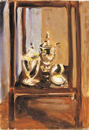 Still Life of Silver in a Cabinet