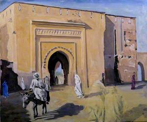 A Town Gate at Marrakech with a Man on a Donkey
