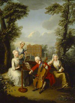 Frederick Louis (1707–1751), Prince of Wales, Accompanied by His Sisters, Anne (1709–1759), Caroline (1713–1757), and Amelia (1711–1786), Making Music at Kew