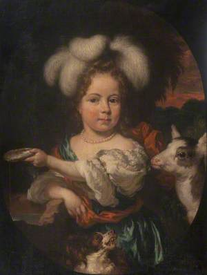 Portrait of a Young Girl in a Feather Headdress, with a Kid
