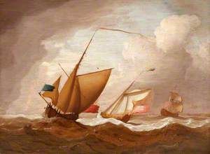 Ships under English Flags at Sea, a Squall Approaching