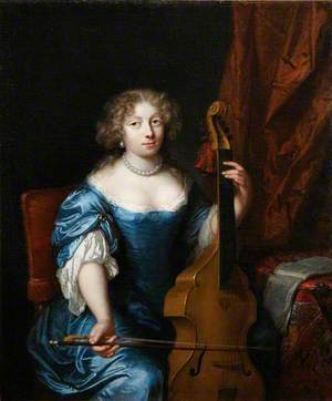 Portrait of a Lady Playing a Viola da Gamba