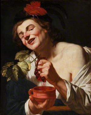 A Bacchic Young Man Squeezing Grapes into a Cup (An Allegory of Taste?)