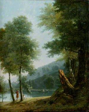 Landscape with Classical Figures on and beside a Lake