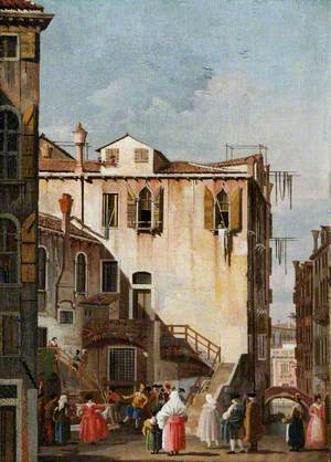 A Courtyard in Venice with a Man and Woman Dancing