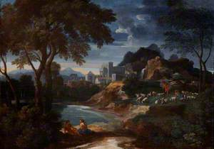 An Italianate River Landscape with a Villa and Shepherds Resting with Their Flock by a Pond