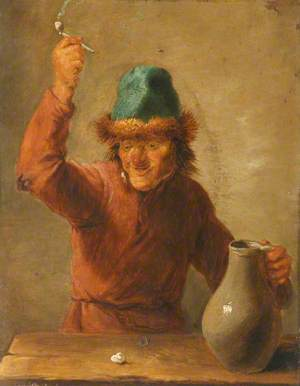 A Boor Holding a Jug and Brandishing a Pipe