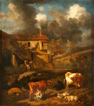Landscape with a Milkmaid Milking a Cow, a Farm Dwelling, Cows, Sheep and a Donkey