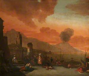 View of the Bay of Naples with Orientals and an Antique Statue