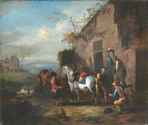 Travellers Halting outside a Forge