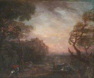Landscape of a River Valley at Sunset