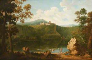 View of Castel Gandolfo with the Lake and Bathers