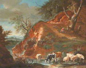 Landscape with Cows and Sheep beside a Mountain Stream