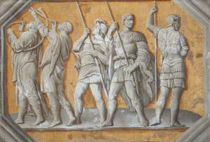 A Simulated Relief of Five Roman Soldiers, Three with Pikes, Two Blowing Horns