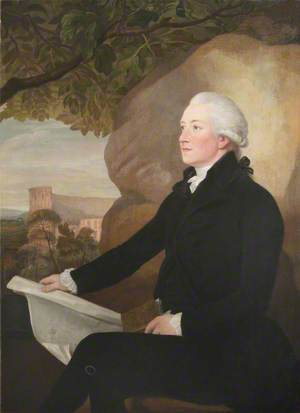 Portrait of an Unknown Gentleman in Black Seated in Front of a Rock, Holding a Sheet of Paper