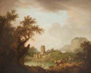 Landscape with Castle on a Lake with Cattle and a Cowgirl