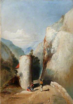 Castle Turret in Mountainous Terrain with Three Figures in the Foreground*