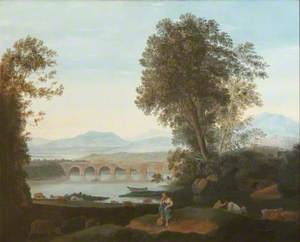 River Landscape with Cows, Goats and a Goat Herd