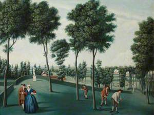 The North-West Woodlands with Gardeners Scything, Hartwell House, Buckinghamshire