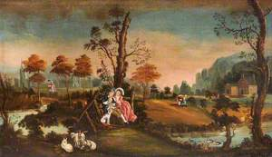 Rustic Landscape with Courting Couples and Goats, a House and Church beyond