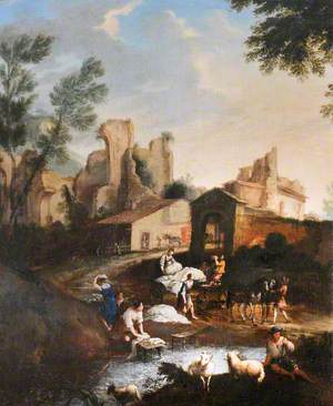 View of a Village with Washerwomen, Sheep and a Drover's Cart