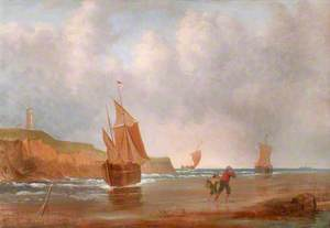 Coastal Scene with Yachts, and Fisherfolk on a Beach