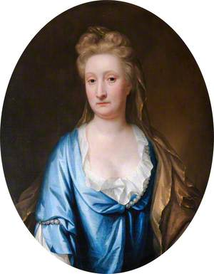 Portrait of an Unknown Woman in Blue with a Yellow Mantle