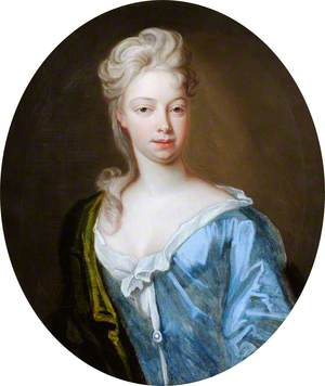 Portrait of an Unknown Young Woman in a Blue Dress and Green Mantle