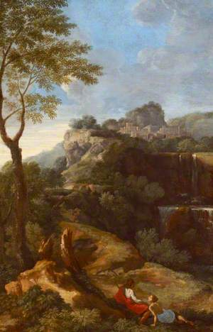 A Mountainous Italianate Landscape with Figures