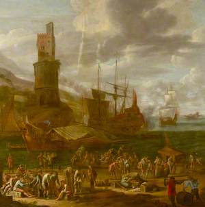 Figures on a Mediterranean Quayside
