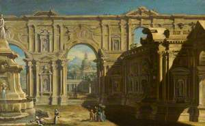 Architectural Capriccio with Figures and Two Washerwomen near a Fountain