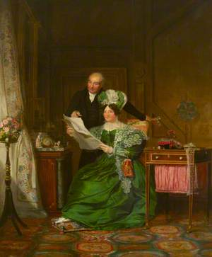 A Lady and a Gentleman Admiring Drawings of Flowers in an Interior