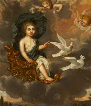 A Child Seated in a Chariot Pulled by Doves as the Infant Venus