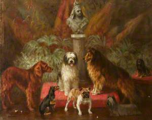 Loyal Subjects: A Bust of Queen Victoria Surrounded by Some of Her Dogs