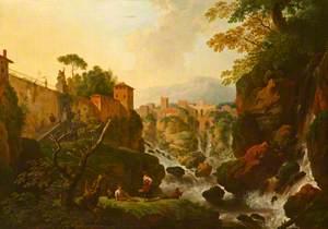 A Rocky Waterfall with City Walls (A Capriccio of Tivoli)