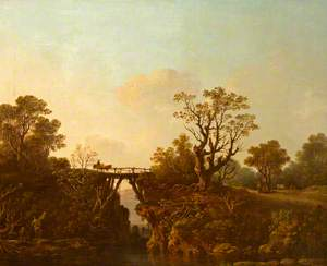 River Scene with a Wooden Bridge