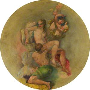 Ceiling Roundel: A Young Man Paying Court to a Nude Young Woman (Venus?) with Attendant Cupids