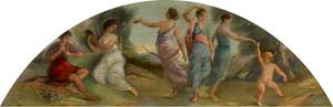 Ceiling Lunette: Dancing Maidens Playing a Tambourine with Putto and a Piping Boy