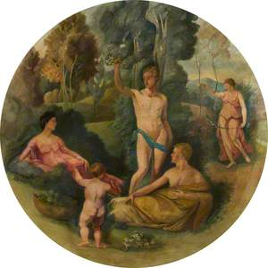Ceiling Roundel: A Nude Youth Holding a Sod with Flowers over a Maiden and a Draped Man, Addressed by a Putto beside a Bowl of Fruit, with a Maiden with a Garland beyond