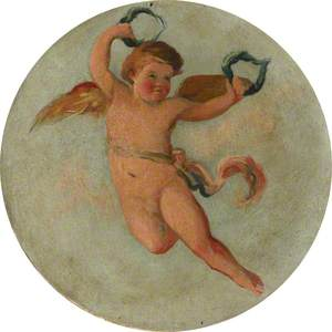 Ceiling Roundel: Putto Flying with Two Laurel Wreaths