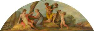 Ceiling Lunette: A Maiden Offering another Fruit, and a Young Man and a Puttto with Wine Vessels