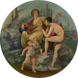 Ceiling Roundel: A Young Man (Oedipus) Interrogating a Young Woman Addressed by a Putto