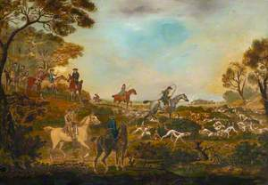 Huntsmen and Hounds with a Captured Fox