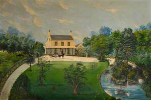 View of a House with Garden, Pond, Horse and Carriage