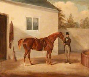 A Gentleman and His Chestnut Horse outside a Stable