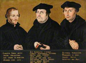 Philip Melanchthon (1497–1560), Martin Luther (1483–1546) and Johann Bugenhagen (1485–1558), Called Dr Pommer