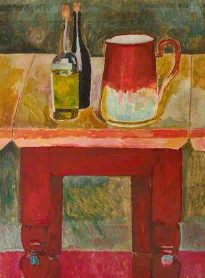 Bottles and Jug on a Table